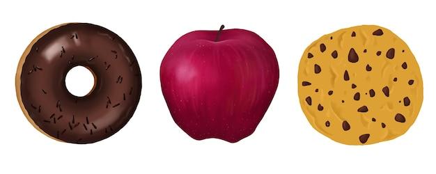 Zestaw ciasteczek jabłkowych pączek żywności