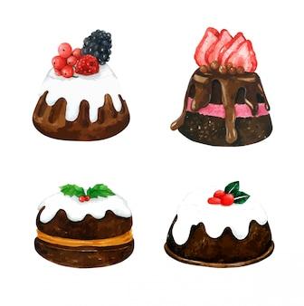 Zestaw ciasto czekoladowe w akwarela