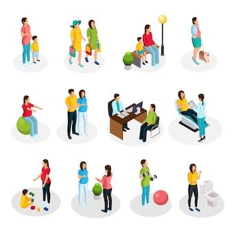 Zestaw ciąży izometrycznej z kobietami w ciąży chodzącymi na zakupy do lekarza bawiącego się z dzieckiem wykonującym ćwiczenia sportowe medyczne procedury diagnostyczne na białym tle