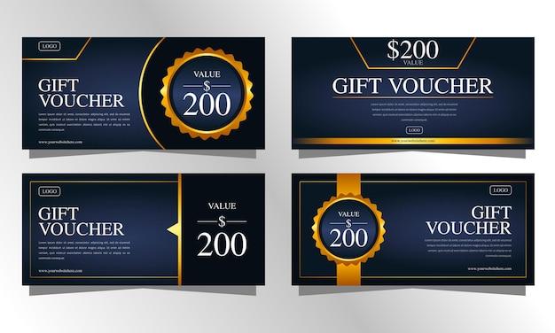 Zestaw ciemnoniebieskich i złotych luksusowych szablonów bonów upominkowych