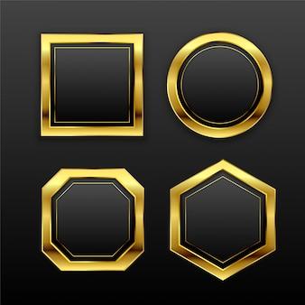 Zestaw ciemnych złotych geometrycznych pustych odznak etykiet