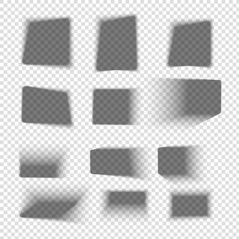 Zestaw cieni do pudełka. kwadratowe realistyczne cienie z miękkimi krawędziami. upuść cień na podłogę. przezroczysta makieta wektor.