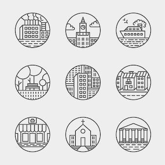 Zestaw cienkich ikon projekt zestaw. umiarkowane proste ikony linii. ikony miasta ultra cienkich budynków