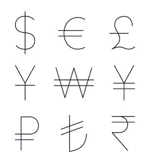 Zestaw cienkich znaków walutowych