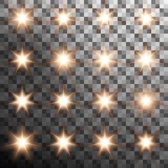 Zestaw ciepłego światła błysku blasku na białym tle. przezroczyste tło tylko w