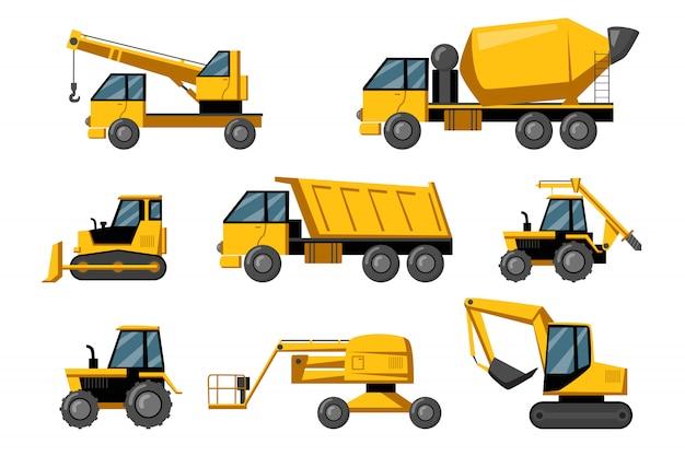 Zestaw ciężarówek budowlanych