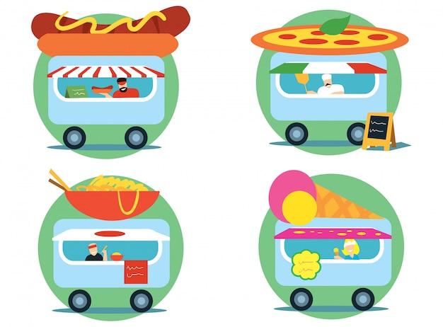 Zestaw ciężarówek fast food