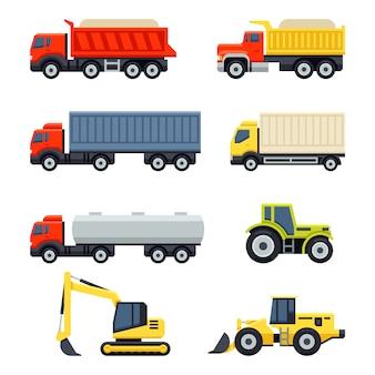 Zestaw ciężarówek i ciągników. płaski styl.