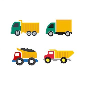Zestaw ciężarówka ikona szablon wektor na białym tle