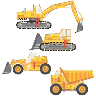 Zestaw ciężkich maszyn budowlanych.
