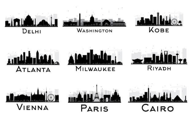 Zestaw city skyline czarno-biała sylwetka. delhi. waszyngton. kobe. atlanta. milwaukee. rijad. wiedeń. paryż. kair. pejzaż miejski z zabytkami