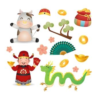 Zestaw clipart dekoracji chiński nowy rok 2021. bóg bogactwa, krowa, złoto, moneta, smok. projekt stylu kreskówka na białym tle