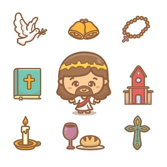Zestaw clipartów chrześcijaństwa. różne elementy religijne i słodkie postacie z kreskówek jezusa
