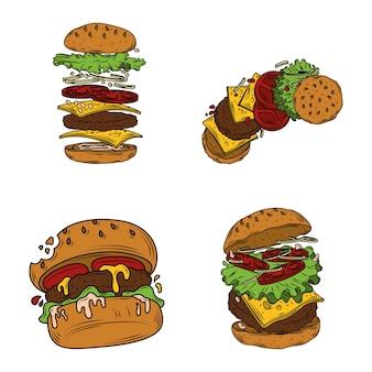 Zestaw clipartów fast food burger z warstwami hamburgerów, ugryzionym burgerem i składnikami