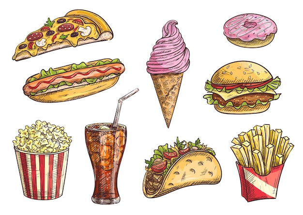 Zestaw clipartów fast food. przekąski na białym tle szkicu, napój, cheeseburger, tacos, hot dog, frytki w pudełku, kawałek pizzy, rożek lodowy, pączek, popcorn, napój gazowany w szkle