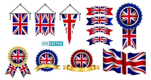 Zestaw clipartów flaga zjednoczonego królestwa na białym tle z różnymi odznakami