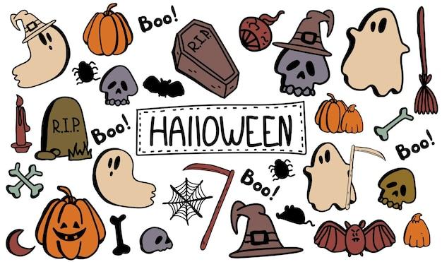 Zestaw clipartów halloween doodle kolekcja kreskówek zestaw ikon i symboli o dniu halloween
