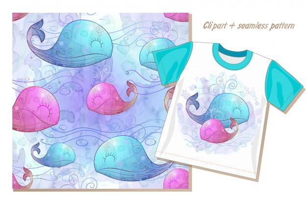 Zestaw clipartów i wzór z słodkie wieloryby