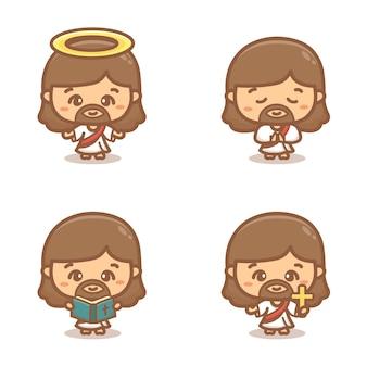 Zestaw clipartów jezusa chrystusa. modlący się, święty i trzymający krzyż. ilustracja kreskówka wektor