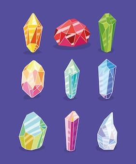 Zestaw clipartów kryształów