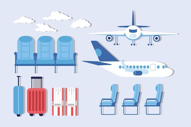 Zestaw clipartów lotniska i linii lotniczych