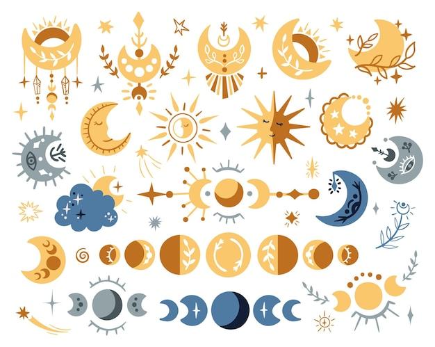 Zestaw clipartów niebiański księżycowy boho