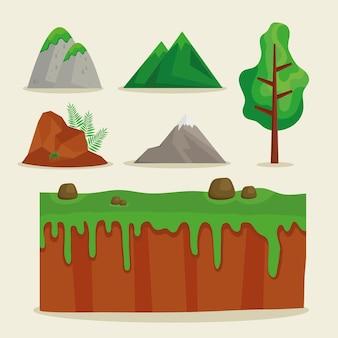 Zestaw clipartów sceny natury