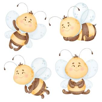 Zestaw clipartów słodkie pszczoły