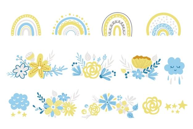 Zestaw clipartów tęcza wiosna kwiatowy