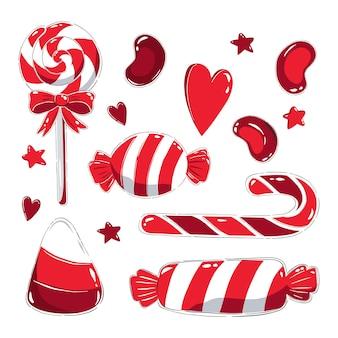 Zestaw clipartów z czerwonymi cukierkami i lizakami.