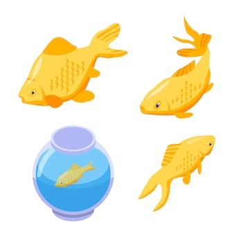 Zestaw clipartów złota rybka, izometryczny styl