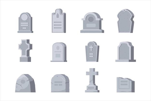 Zestaw cmentarny, nagrobek cmentarny o różnym kształcie