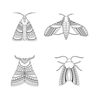 Zestaw ćmy w stylu boho. geometryczny zarys plemiennych ilustracji.
