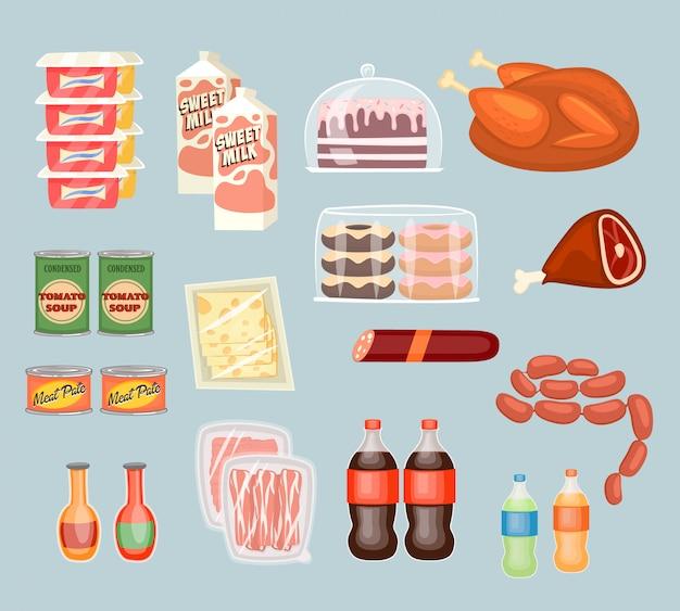 Zestaw codziennych produktów spożywczych w stylu płaskiej