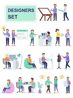 Zestaw coworkingowych projektantów przestrzeni.