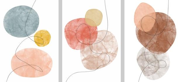 Zestaw creative minimalistyczny ręcznie malowany. sztuka abstrakcyjna tła.