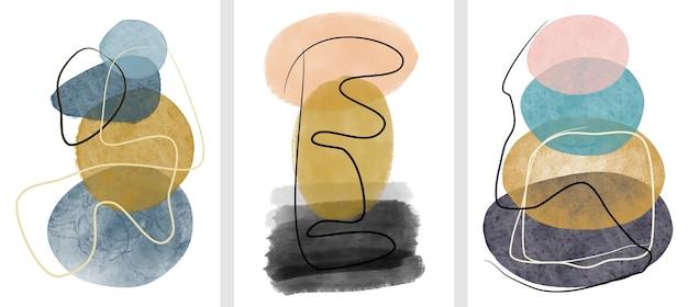 Zestaw creative minimalistyczny ręcznie malowany. sztuka abstrakcyjna