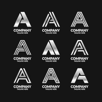 Zestaw creative monogram letter a logo template