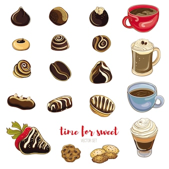 Zestaw cukierków czekoladowych, kawy i ciasteczek. ilustracja wektorowa jasny słodyczy. wyizolowane obiekty. czas na kawę ze słodyczami.