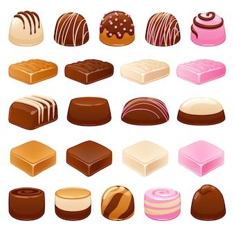 Zestaw cukierków czekoladowych. różne słodycze.