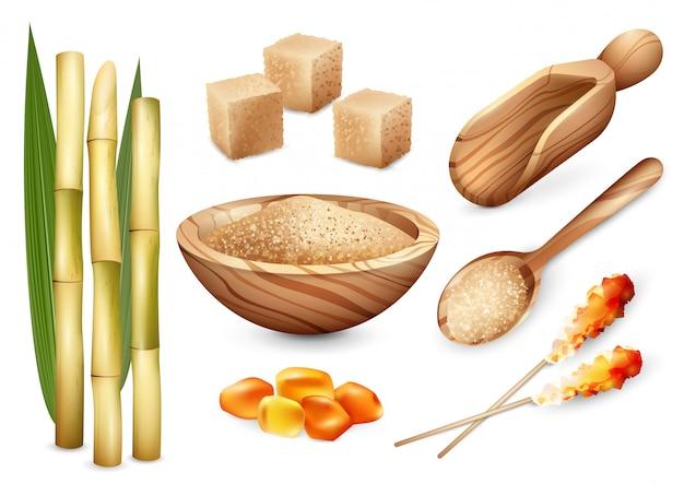 Zestaw cukierków trzciny cukrowej