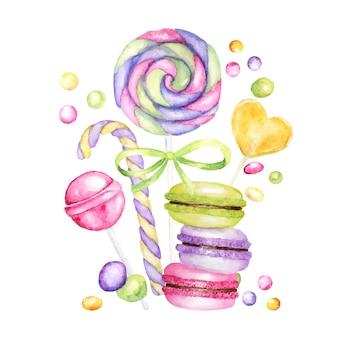 Zestaw cukierków w jasnych kolorach. lollipops jasne kolory na białym tle