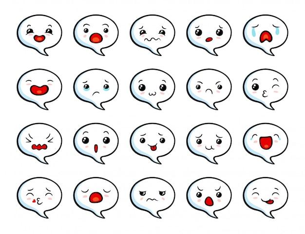 Zestaw cute azjatyckich emoji