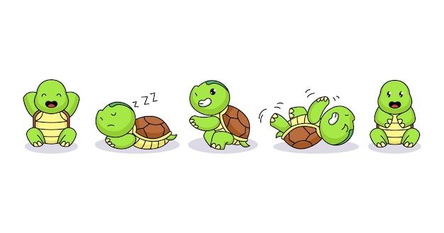 Zestaw cute baby żółw zabawny i szczęśliwy