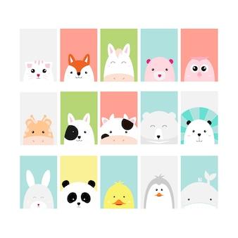 Zestaw cute baby zwierząt karta kreskówka ręcznie rysowane stylu