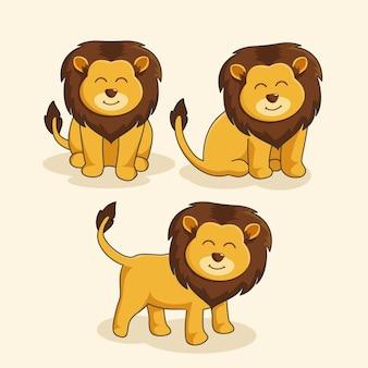Zestaw cute cartoon king lion zwierząt