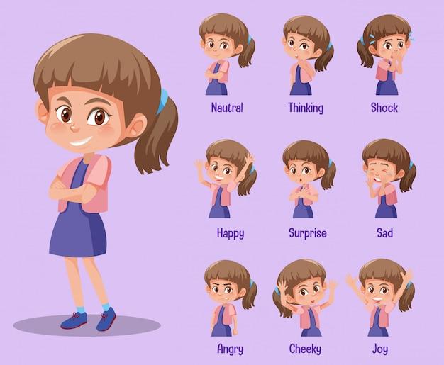 Zestaw cute girl z różnych wyrażeń na jej twarzy
