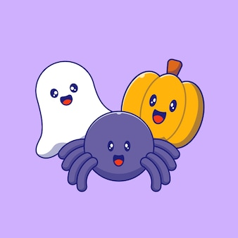 Zestaw cute halloween maskotka duch, pająk i dynia. wesołych halloween płaskie ilustracje.