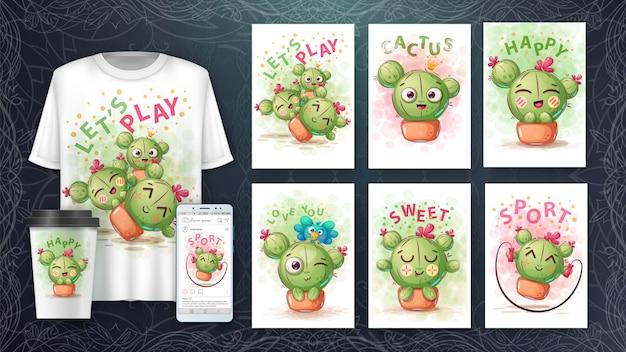 Zestaw cute ilustracji i merchandisingu