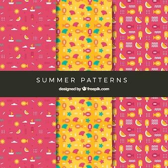 Zestaw cute letnich wzorów w płaskim stylu